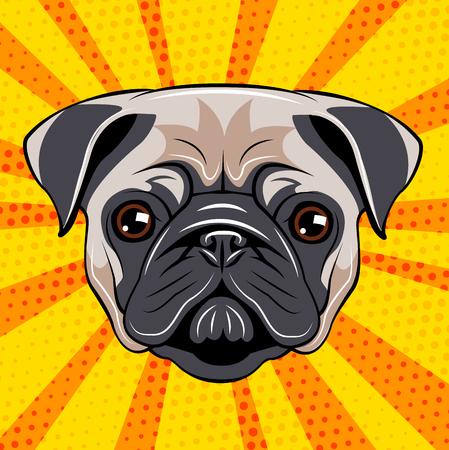 Cute pug head vector illustration on color background. Dog Portait. Vettoriali