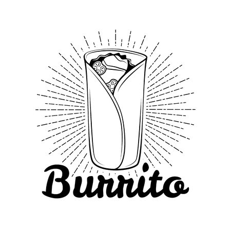 Burrito. Mexicaanse traditionele keuken. Vector getekende illustratie, menu label, banner poster identiteit, branding. Burrito op witte achtergrond wordt geïsoleerd die. Stock Illustratie