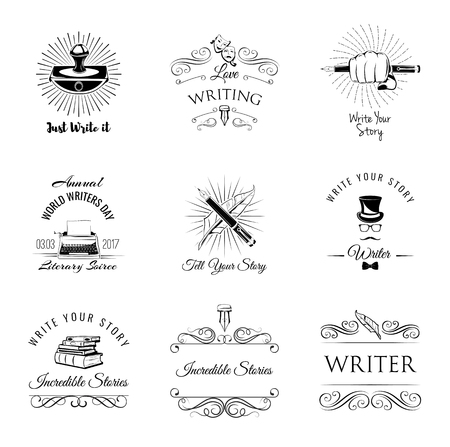 Writer design elements. Isolated objects. vintage pen. ink, books vector illustration Vintage illustration.