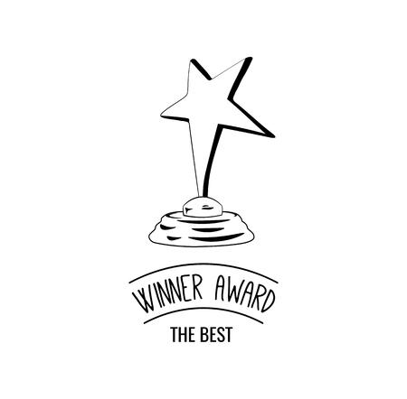 Star award icon. Thin line illustration of star award vector icon isolated on white background. Vintage illustration.
