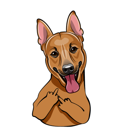 Vector illustration of a brown cute dog with middle finger for design element. The dog on white background.