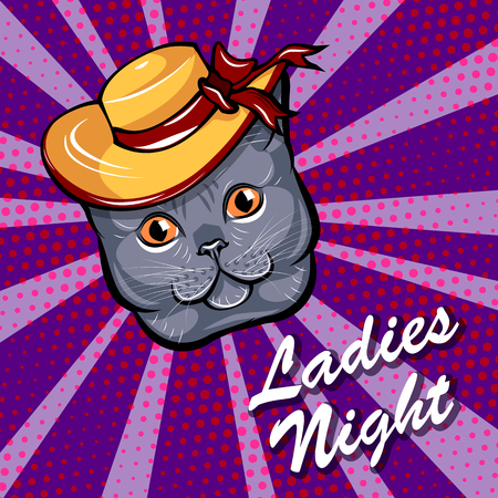 Illustration of a Cute Cat wearing in a brimmed hat isolated on color background. Illustration