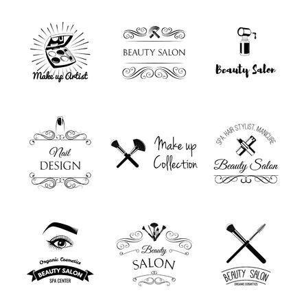 ヴィンテージスタイルの美容院デザイン要素。口紅、マスカラ、唇、マニキュア、女性の目、ブラシ、爪や指を構成します。