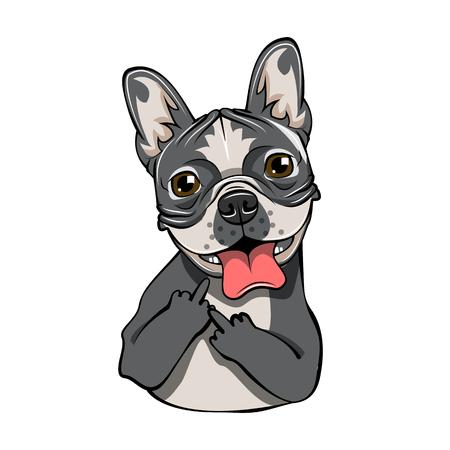 English bulldog isolated on white background. Cute gray bulldog icon, element for new year of dog 2018 design.  イラスト・ベクター素材