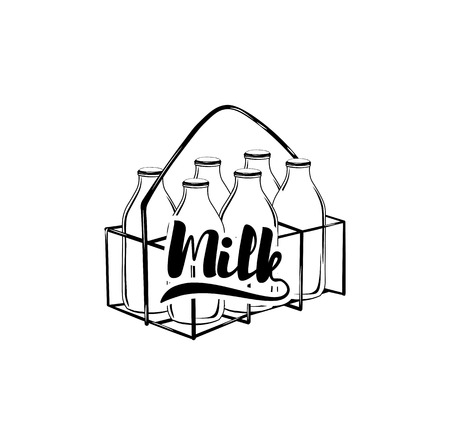 Fles melk lijn pictogram, eten drinken elementen, zuivel teken, een lineair patroon op een witte achtergrond Stock Illustratie