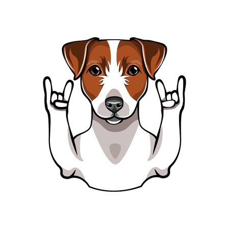 Illustration of Jack Russell Terrier dog with horns. Vector illustration flat style isolated on white background.