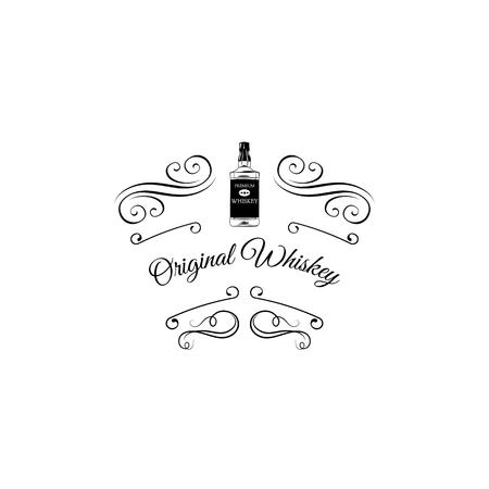 Original Welsh Whiskey with swirls, badge, label, vector illustration isolated on white background.