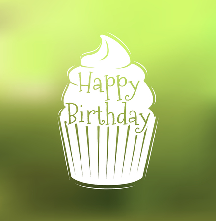 Picture with birthday cake. Vector illustration isolated on color background.