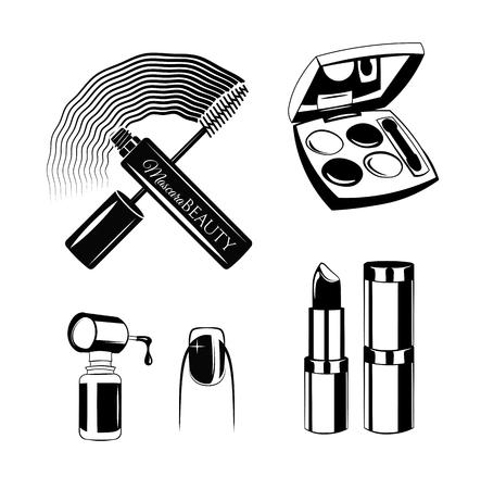 Cosmetics set drawing by hand. Nail polish, mascara, lipstick, eye shadows. Concept for beauty salon or business.