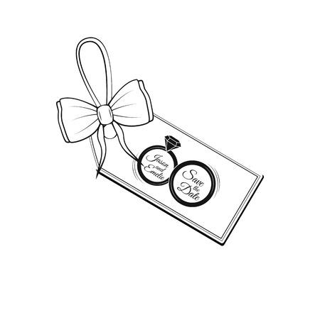 레이블 리본 활 결혼식 초대 템플릿을 레이블을 지정합니다. 날짜 반지를 저장하십시오. 벡터 일러스트 레이 션 흰색 배경에 고립. 일러스트