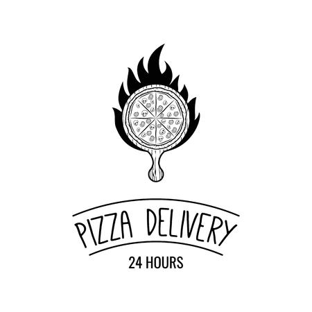 Logotype d'illustration pour restaurant pizzeria sous la forme d'un morceau de pizza au feu. Logo de livraison de pizza. Fichier vectoriel Banque d'images - 94421917
