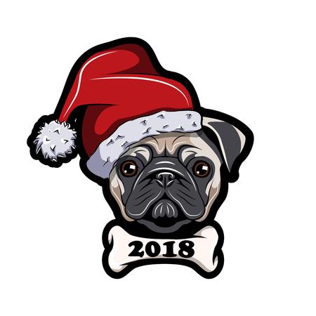 Pug in Santa hat, dog. New Year 2018. Vector illustration on white background.