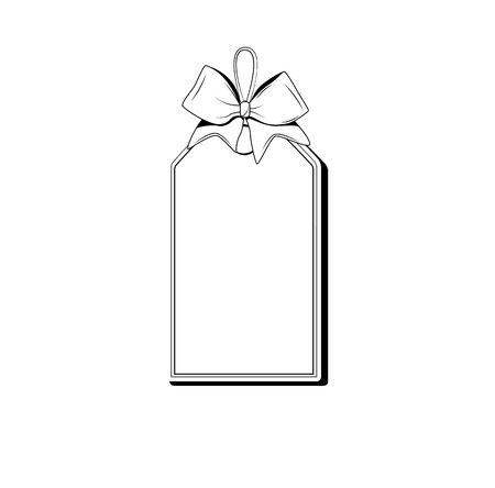 Blank monochrome ribbon banners with contour of label. isolated vector illustration