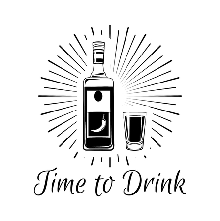 Time to drink Tequila lettering. Hand drawn vector illustration with alcohol bottle of tequila, crystal glass, lemon or lime, and salt. Vintage elements isolated on white background. Illustration