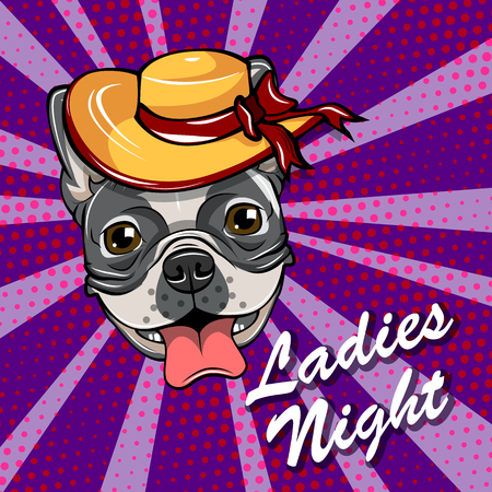 A Bulldog head in Wide wide-brimmed hat. Ladies night Vector illustration. Stock Illustratie