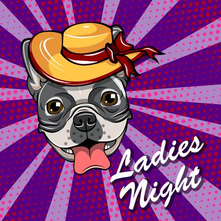 A Bulldog head in Wide wide-brimmed hat. Ladies night Vector illustration. Vettoriali