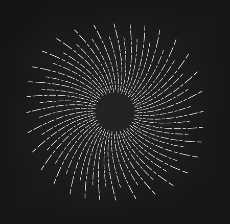 Rays, beams element. Sunburst, starburst shape. Radiating, radial, merging lines Abstract circular geometric shape Vector illustration