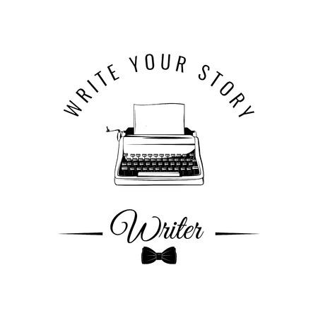 Typewriter badge Vector illustration isolated on white background