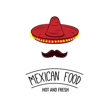 Sombrero and mustache. Mexican food badge. Vector illustration isolated on white background Vettoriali
