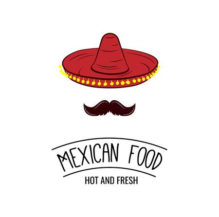 Sombrero en snor. Mexicaans eten badge. Vector illustratie geïsoleerd op een witte achtergrond Stock Illustratie