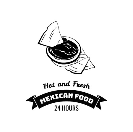 Vector emblem of Mexican food with nachos. Illustration isolated on white background.