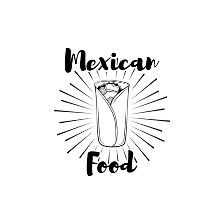 Burito mexican food in beams. Vector flat style cartoon illustration isolated on white background
