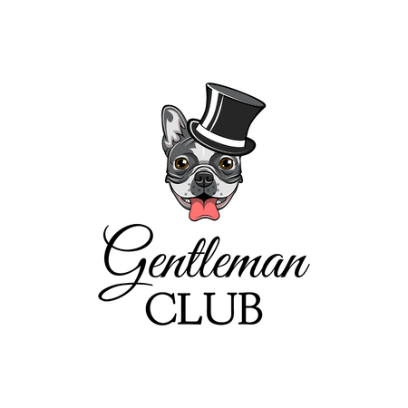 Gentleman dog, bulldog wearing in top hat vector illustration isolated on white background.
