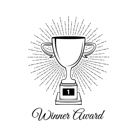 Sport trophy sketch. Hand drawn winners prize on white background. Winner cup in beams. Vector illustration.