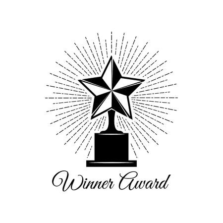 Star award icon in beams. Winner logo. Vector file isolated on white background. 일러스트