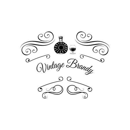 Creative sketch of brandy composition. Vector illustration. Hand drawing set used for advertising drinks premium quality, beverage in restaurant or pub menu, for logo design. Swirls, ornate frames.