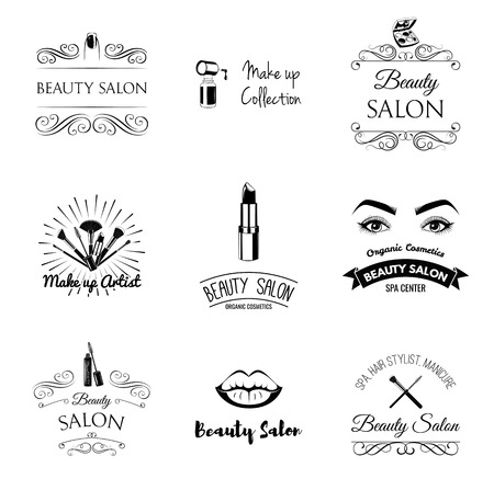 Beauty Salon Design Elements in Vintage Style. Lipstick, mascara, lips, manicure, women eyes, make up brushes, nail and finger. Vintage filigree frame, logo, banner and label. Logo for make up artist. Фото со стока - 95366610