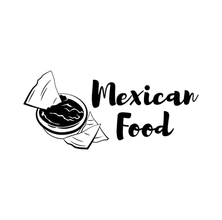 Nachos drawing. Traditional mexican food vector illustration. Hand drawn fast food snack. Engraved style cuisine. Sketch for restaurant menu, label, banner