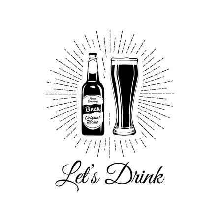 Bottle and glass of beer icon. Beer and pub, bar symbol. UI. Web. Logo. Sign. Flat design. Vector file. Let s drink