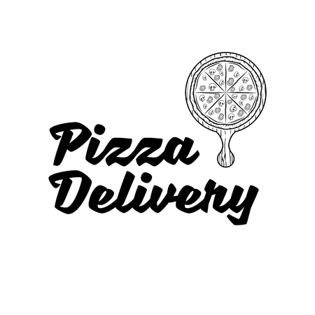 Pizza delivery vector company logo template with sample text, pizza inside the stopwatch symbolizing fast delivery