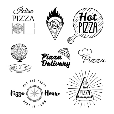 Retro italian cuisine restaurant labels, logos and emblems vector set. Food and cuisine, sign and label pizza lasagna pasta illustration Illustration