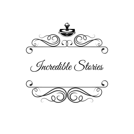 Writer logo with swirls. Writer badge. Incredible stories. Vector illustration isolated on white background Ilustração