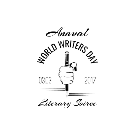 World Writers day emblem isolated vector illustration on white background. 3 march world cultural holiday event label, greeting card decoration graphic element