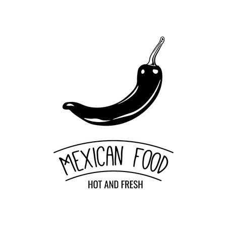 Mexico icon of hot chili pepper for Mexican restaurant sign. Vector symbol or jalapeno pepper for Mexican cuisine cafe pub or tequila drink bar in national flag colors
