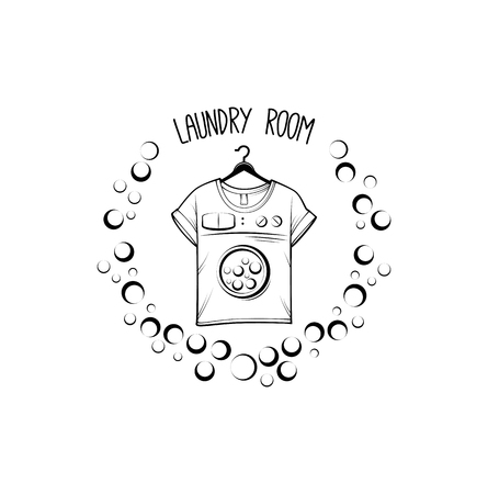 laundry and dry cleaning logo, emblem and design element. t-shirt. Vector illustration.