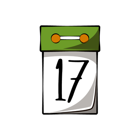 Tear-off calendar with the date 17 March to St. Patricks Day. Vector illustration isolated on white background Illustration