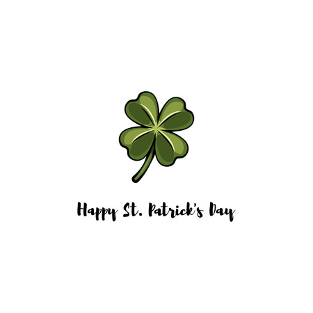 Clover four-leaf contour. St. Patrick s day. Silhouette. Vector illustration isolated on white background Banque d'images - 95880287