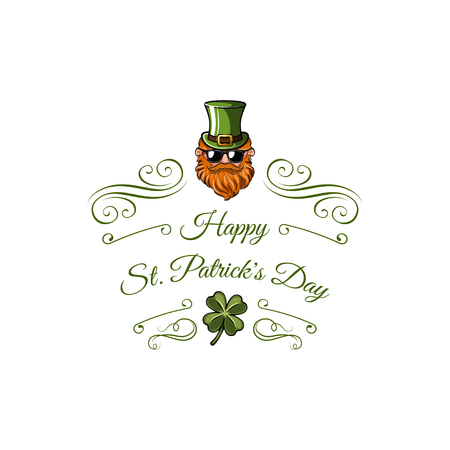 St. Patrick's leprechaun character with a green hat, glasses and a beard. Vector illustration isolated on white background Banque d'images - 96017775