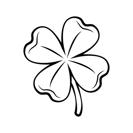 Clover four-leaf contour. St. Patricks day. Outlined Vector illustration isolated on white background. Иллюстрация
