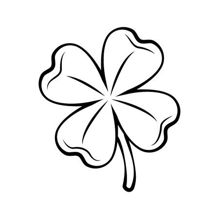 Trébol de cuatro hojas de contorno. Día de San Patricio. Ilustración de Vector contorneado aislado sobre fondo blanco.