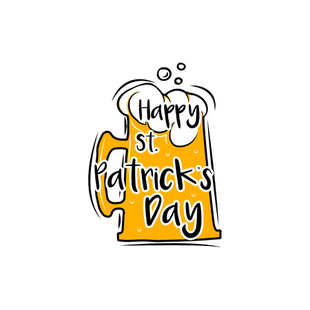 Happy Saint Patricks day Beer glass label. Vector illustration isolated on white background Illustration