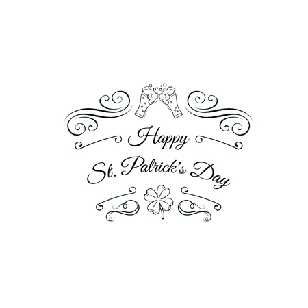 Clink beer glasses. Saint Patricks Day with decorative items and sayings. Ideal for St. Patricks day party invitations, flyers, banners and posters