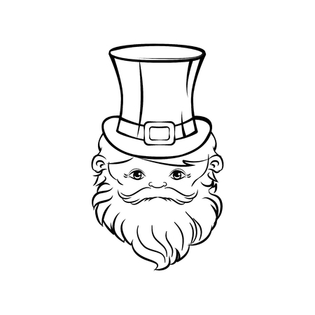 Leprechaun face isolated on white background vector. St. Patrick's day illustration. Banque d'images - 95925711