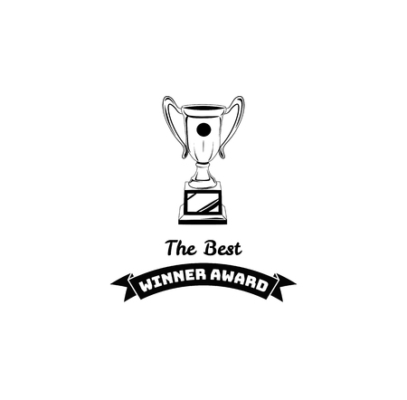 Sketch of hand drawn winner cup vintage. Vector illustration isolated on white background.