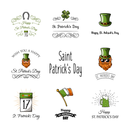 St. Patricks day labels set: Calendar, clover, leprechaun. Vector illustration. Illustration
