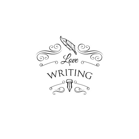 Feather pen and ink, writing logo.  Vector illustration Çizim
